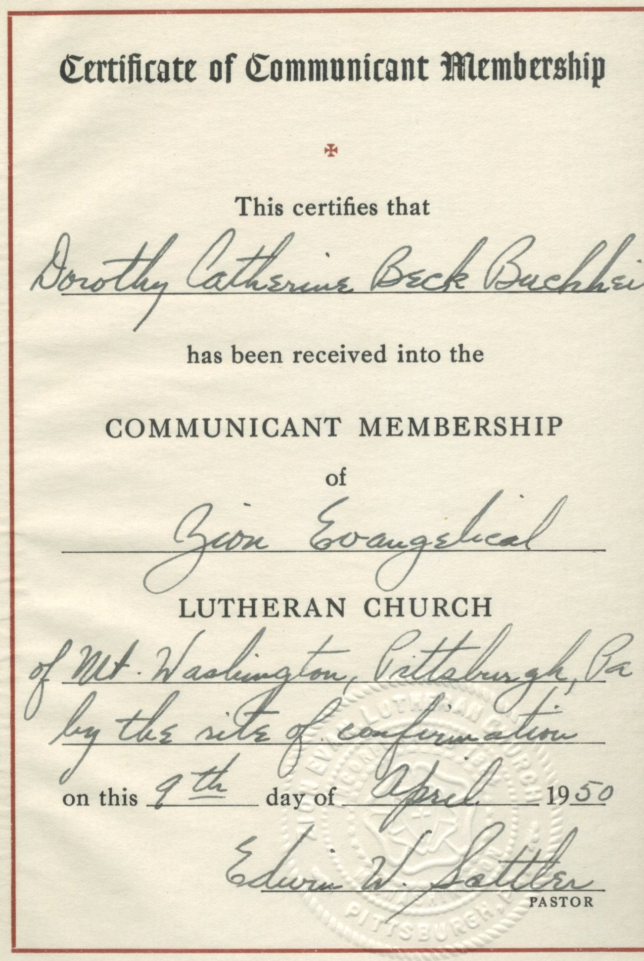 Buchheit history online view confirmation buchheit dorothy catherine beck certificate of confirmation 1betcityfo Images